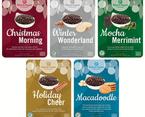 Gloria Jean's Coffees Holiday 2015 Whole Bean Labels